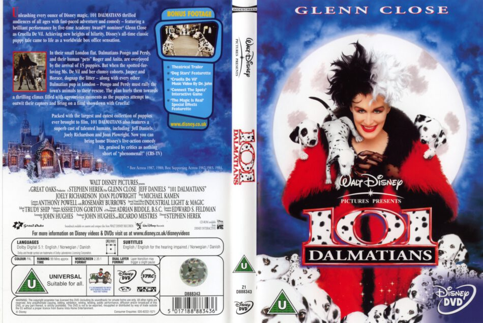 101 Dalmatians 1996 Ws R2 Movie Dvd Cd Label Dvd Cover Front Cover