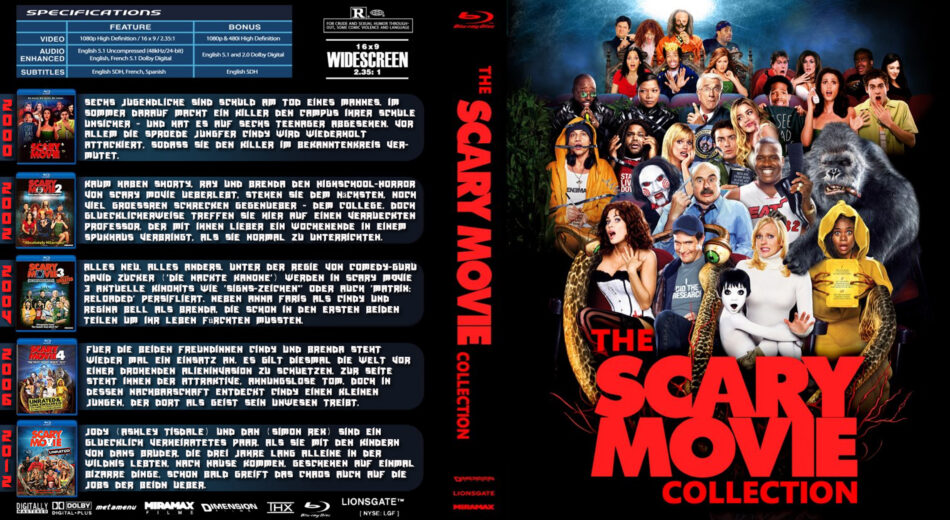Scary Movie Collection Blu Ray Cover 2013 German Custom