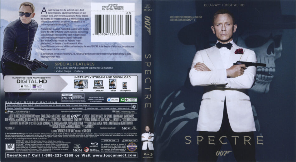 James Bond Spectre Blu Ray Cover Label 2015 R1