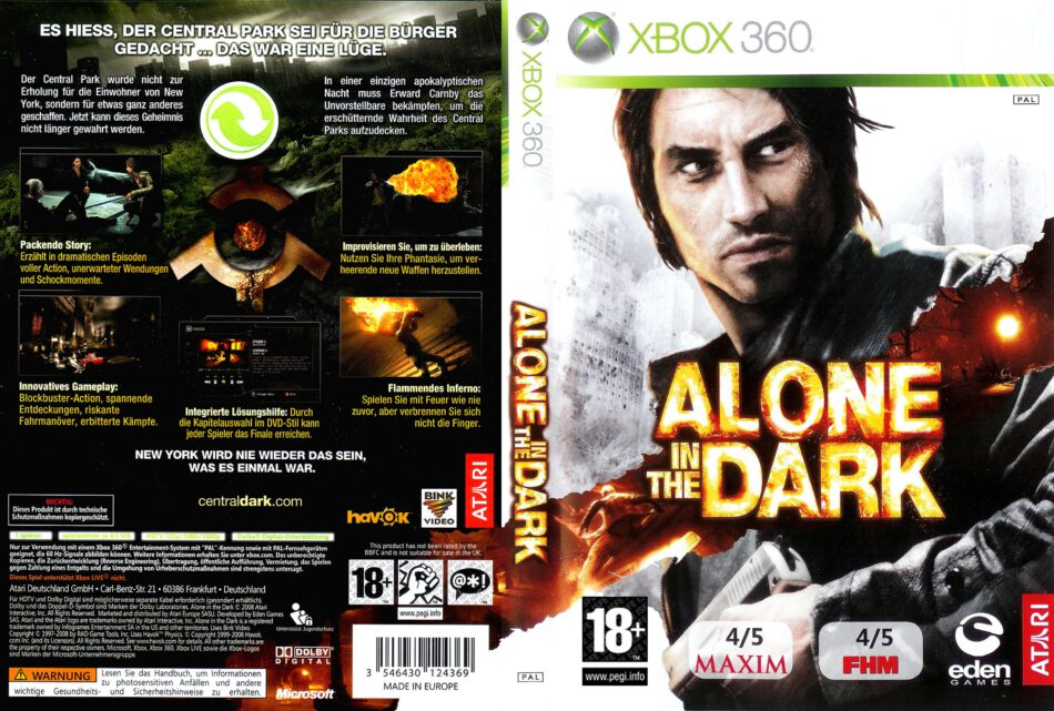 Alone In The Dark Dvd Cover 2008 Xbox 360 Pal German