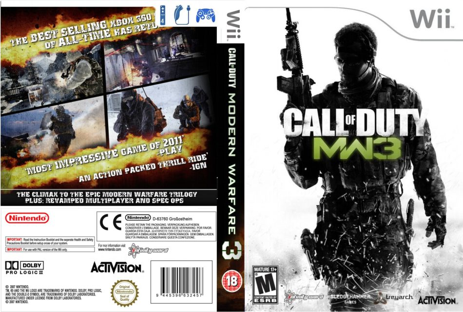 Call Of Duty Modern Warfare 3 Dvd Cover 2011 Wii Custom Usa