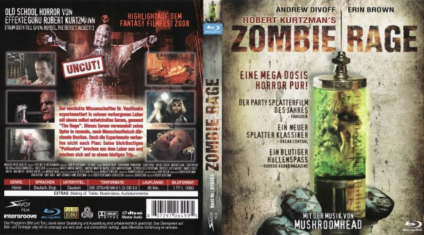 Zombie Rage - The Rage (2007) R2 German Blu-Ray Cover & Label