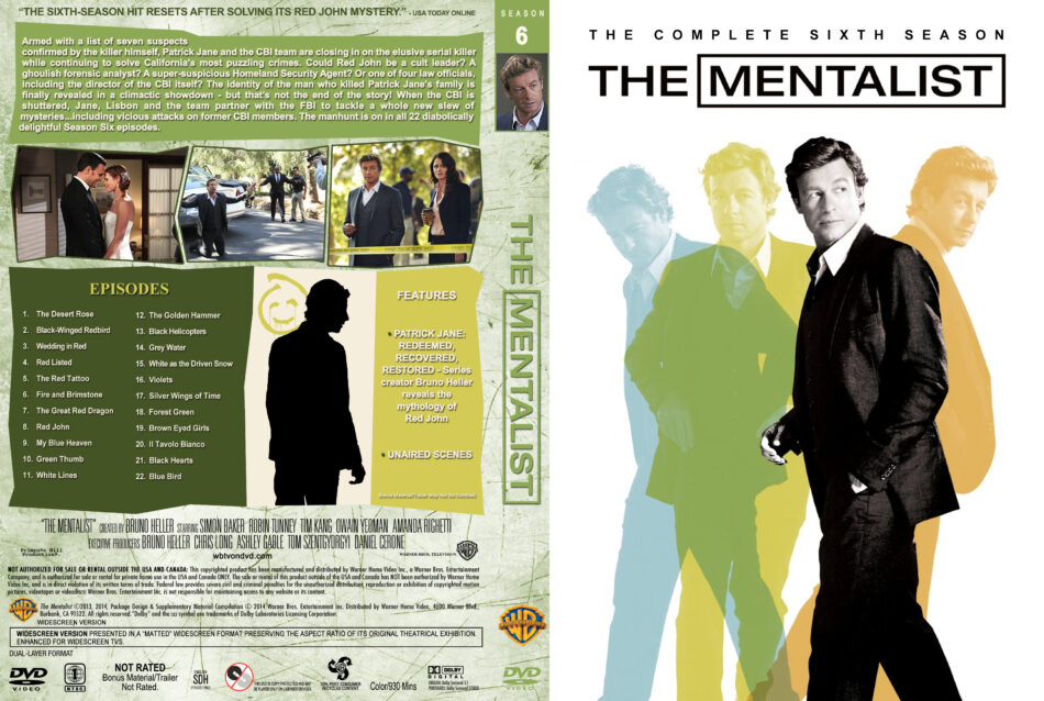 The Mentalist - Season 6 dvd covers & labels (2013) R1 Custom