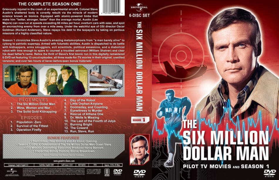 The Six Million Dollar Man Season 1 Dvd Cover Labels 1974 R1 Custom