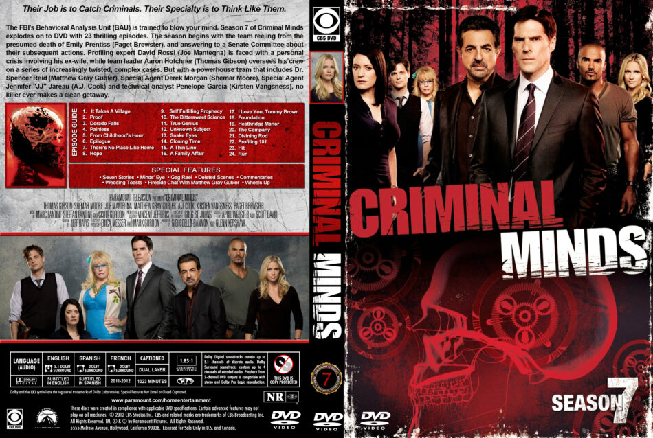 Criminal Minds - Season 7 dvd cover & labels (2011) R1 Custom