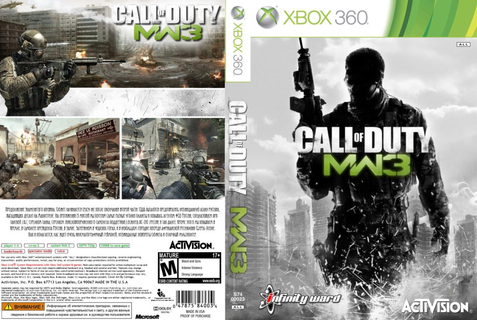 Call Of Duty Modern Warfare 3 Dvd Cover 2011 Xbox 360 Pal Russian