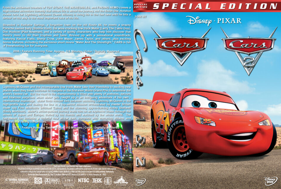 Cars Double Feature Dvd Cover 2006 2011 R1 Custom