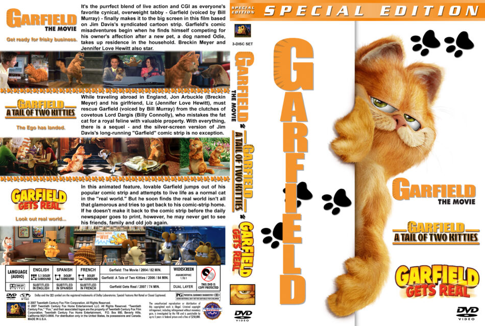 Garfield The Movie Garfield The Tale Of Two Kitties Garfield Gets Real Triple Feature 2004 2007 R1 Custom