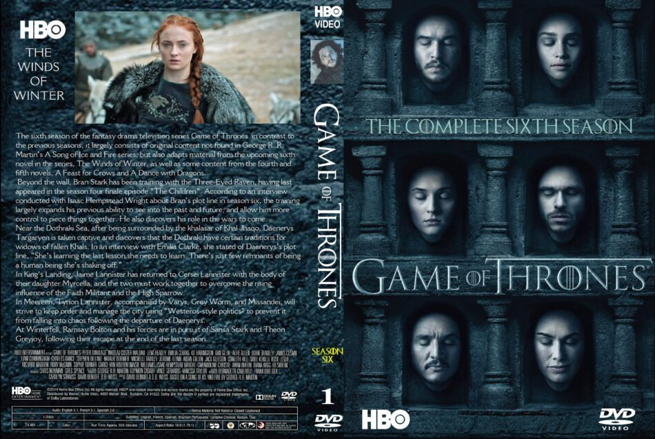 Game Of Thrones Season 6 Volume 1 Dvd Cover Labels 2016