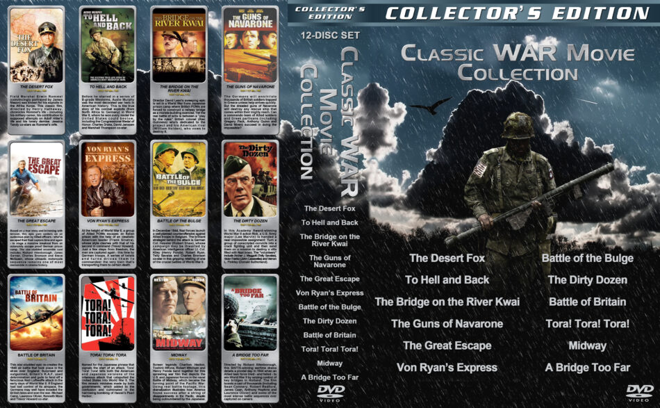 Classic War Movie Collection (12) dvd cover (1951-1977) R1