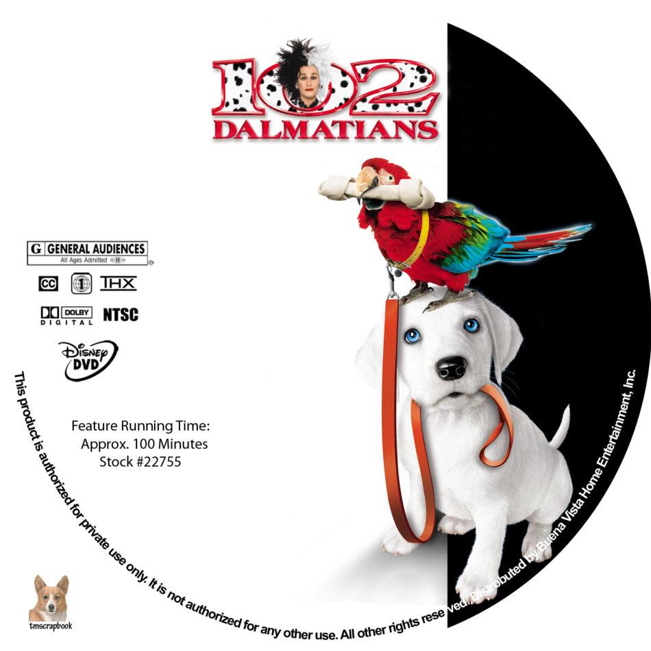 102 Dalmatians Dvd Labels 2000 R1 Custom