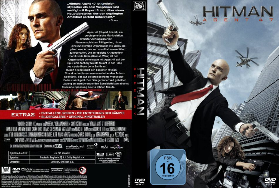 Hitman Agent 47 Dvd Cover Label 2015 R2 Custom German