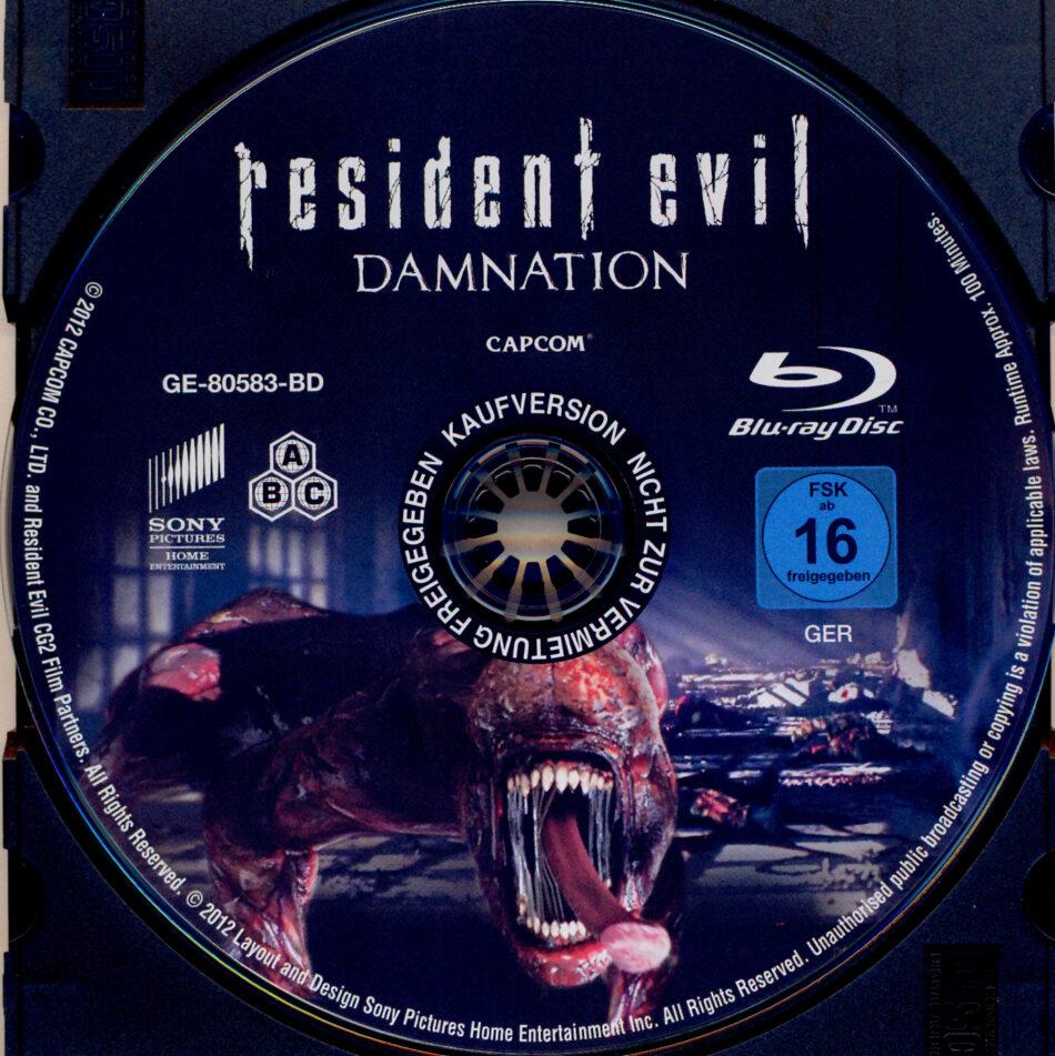 Resident Evil Damnation Blu Ray Label 2012 R2 German