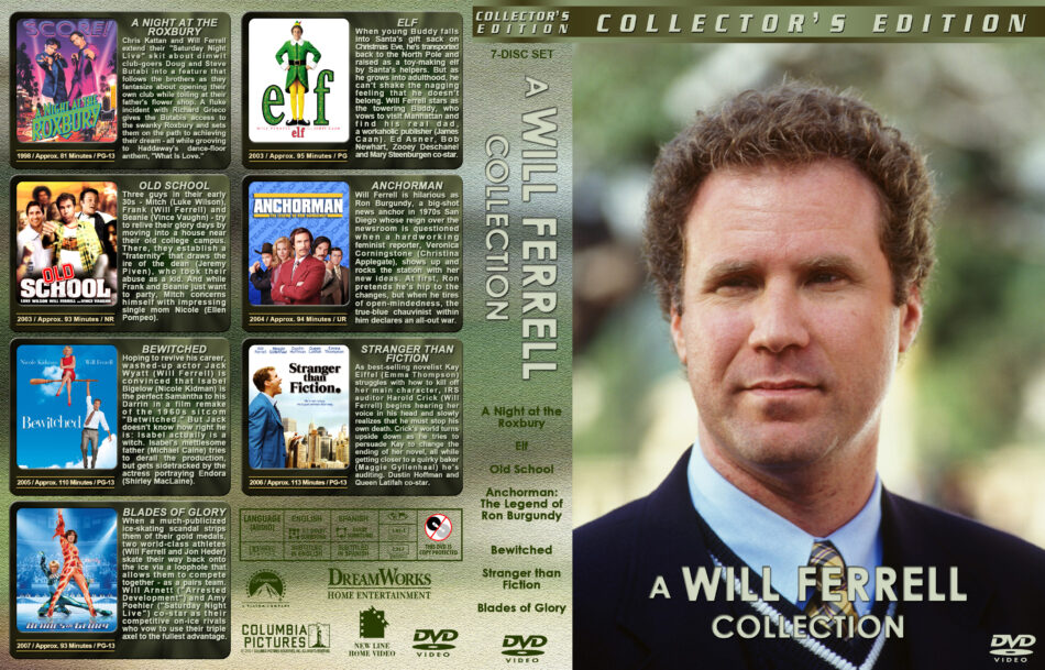 A Will Ferrell Collection (7) dvd cover (1998-2007) R1 Custom