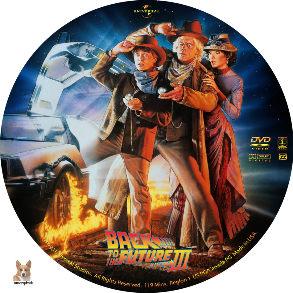back to the future iii dvd label  1990  r1 custom