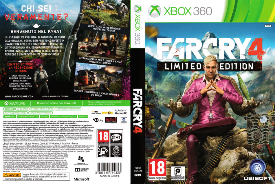 Far Cry 4 Limited Edition dvd cover (2014) XBOX 360 Italian Xbox 360 Game Covers Download