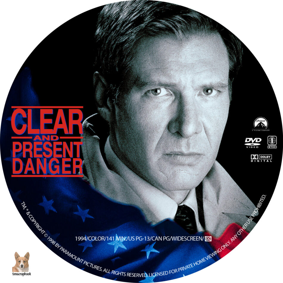 Clear And Present Danger Dvd Label 1994 R1 Custom