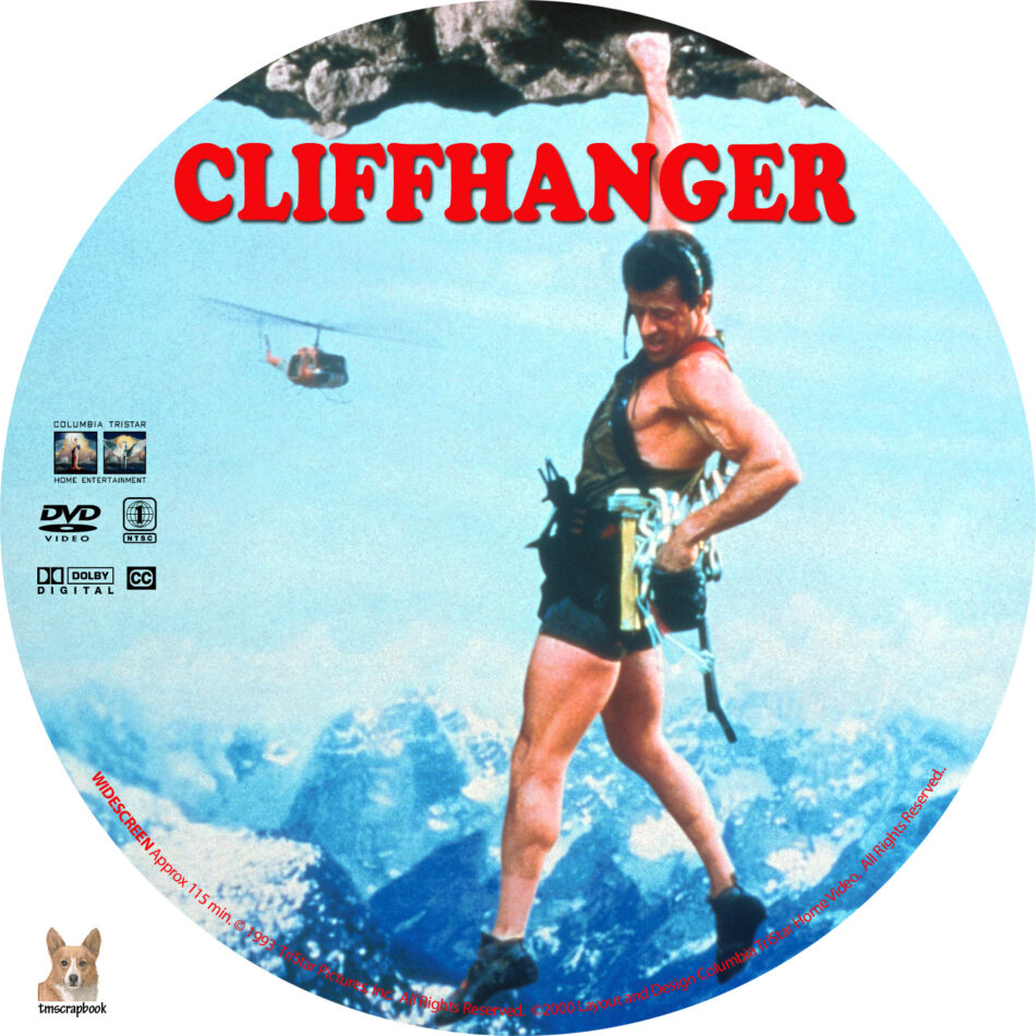 cliffhanger dvd labels  1993  r1 custom