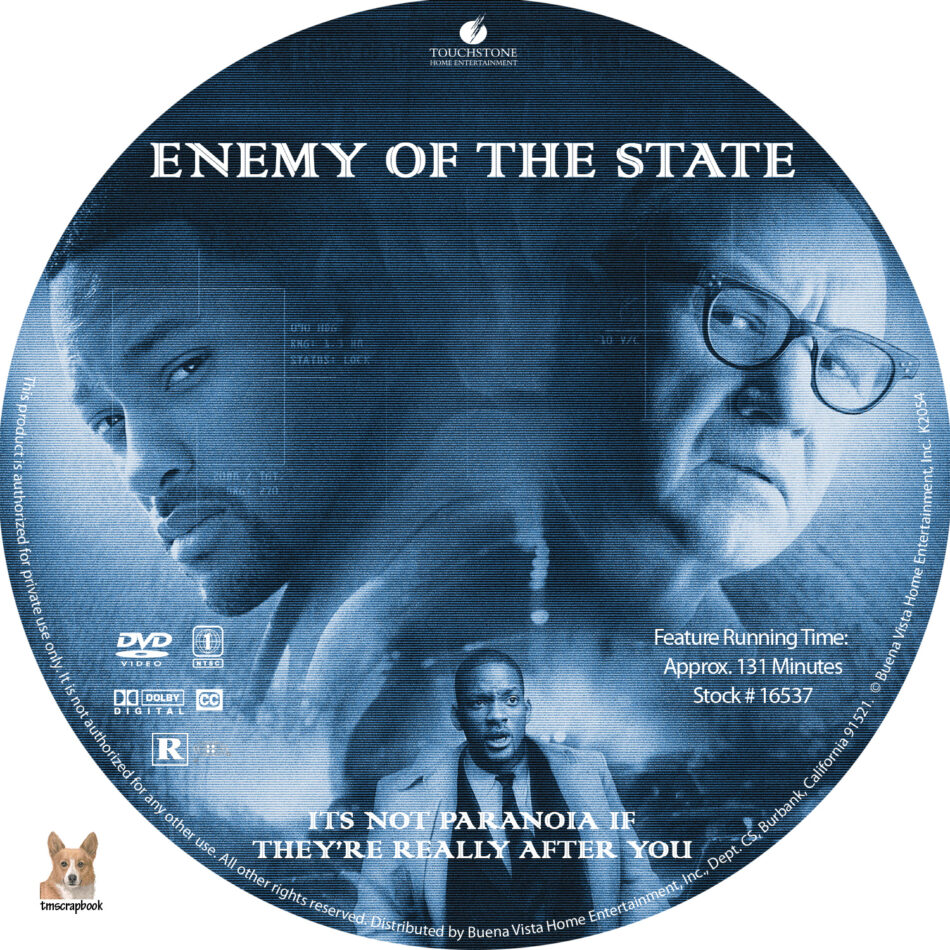 Enemy Of The State Dvd Label 1998 R1 Custom