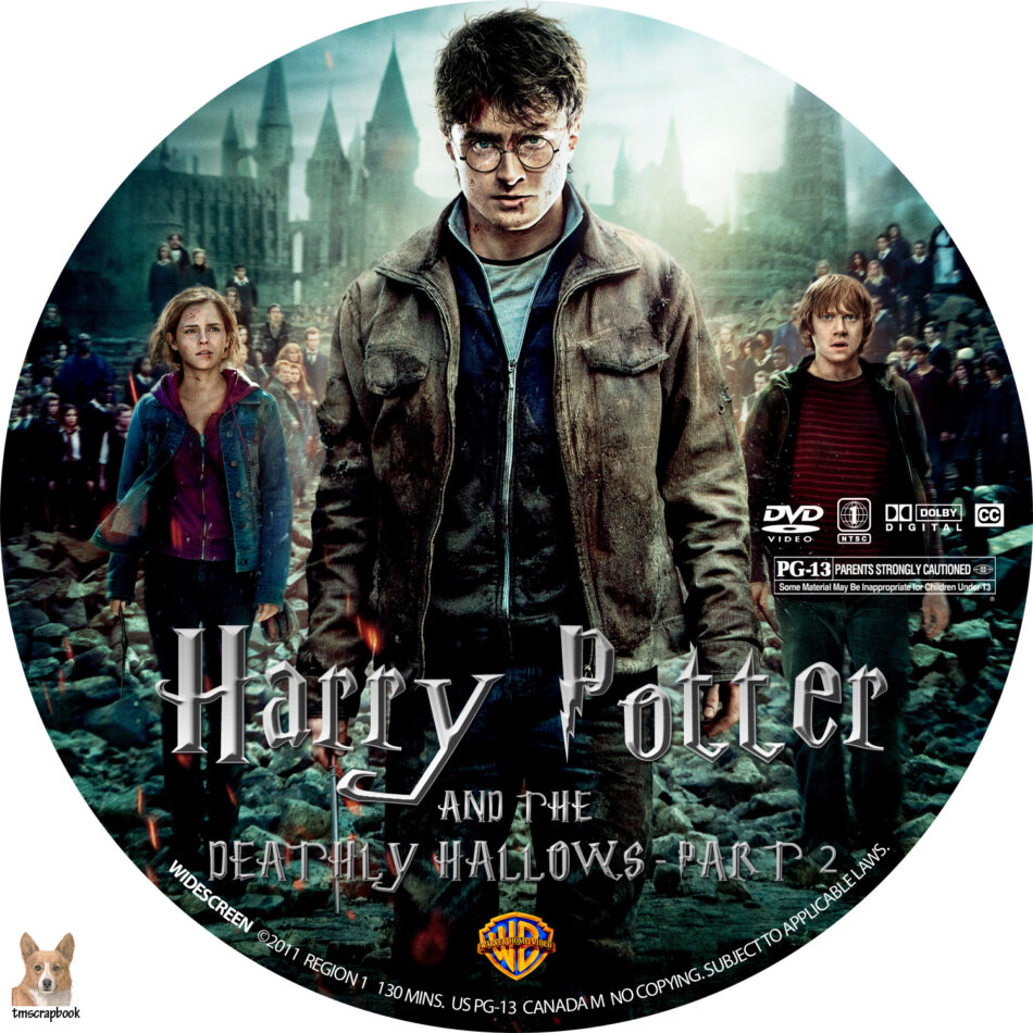 Harry Potter And The Deathly Hallows Part 2 Dvd Label 2011 R1 Custom