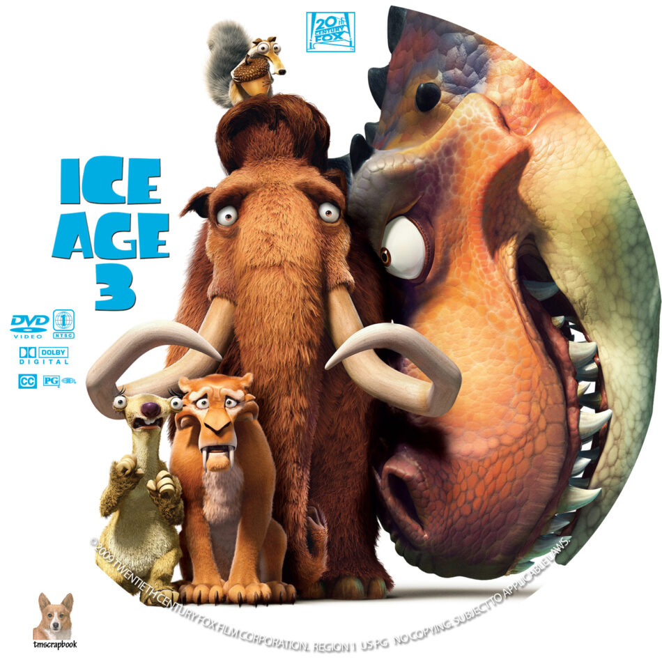 Ice Age 3 Dawn Of The Dinosaurs Dvd Label 2009 R1 Custom