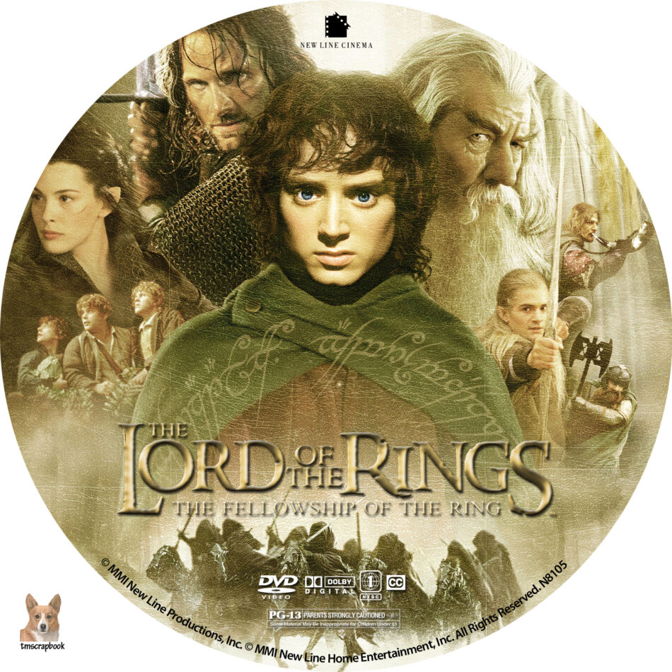 Lord Of The Rings The Fellowship Of The Ring Dvd Labels 2001 R1 Custom