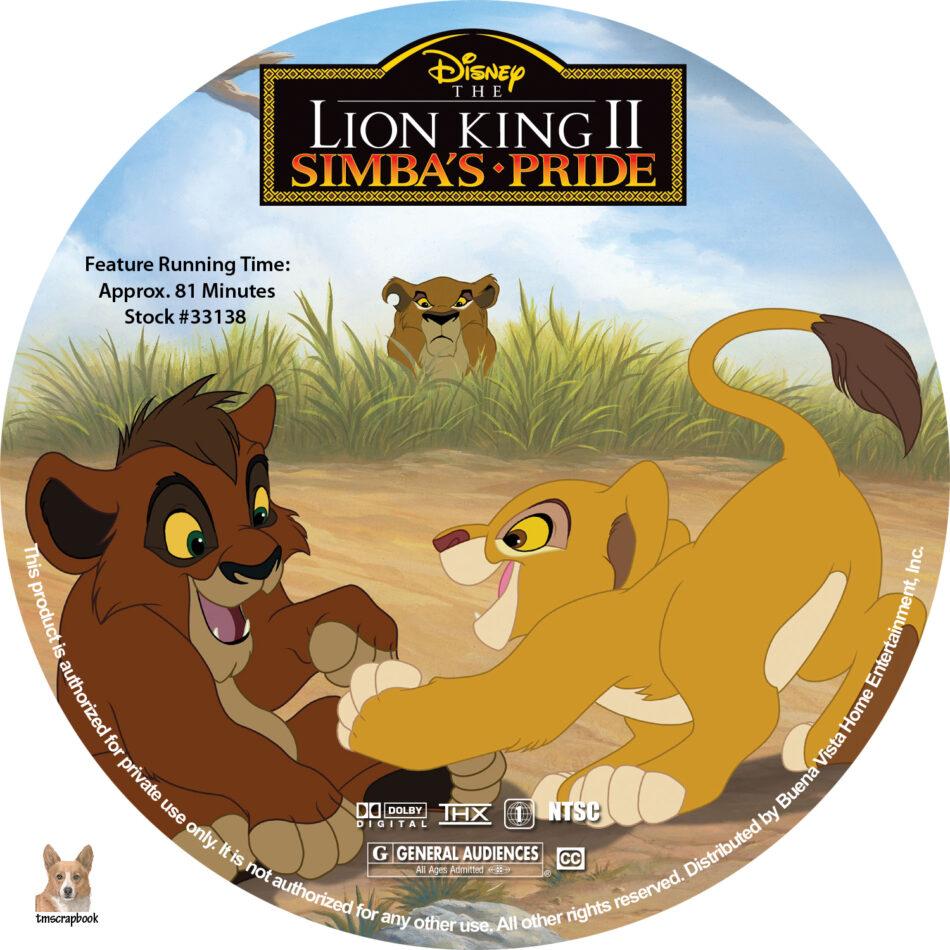 The Lion King Ii Simba S Pride Dvd Labels 1998 R1 Custom