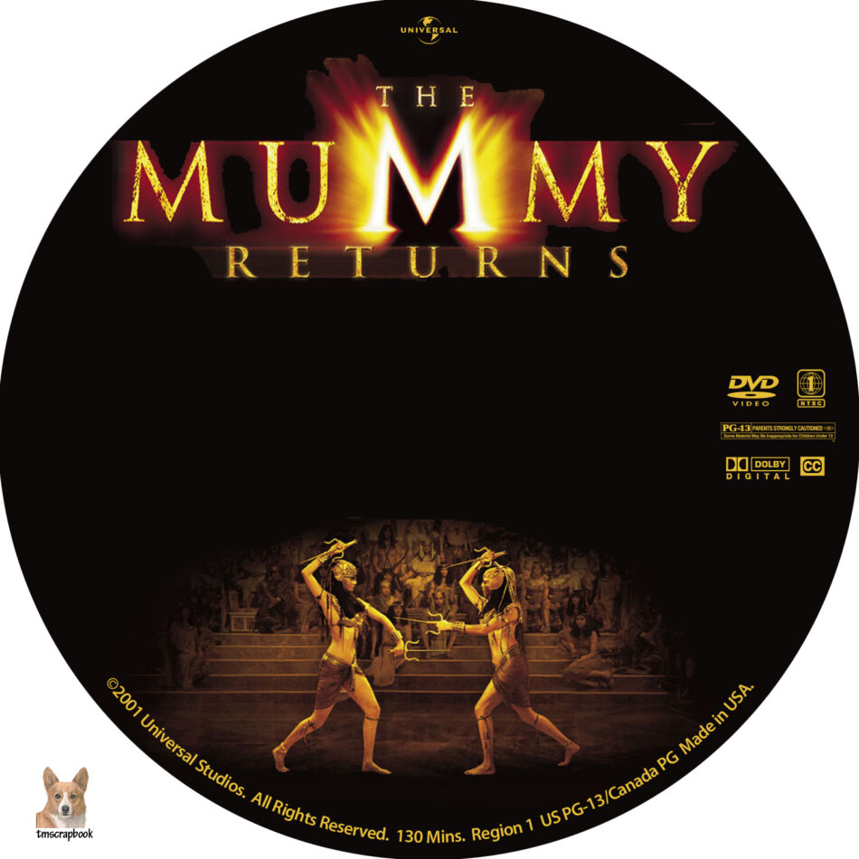 The Mummy Returns Dvd Label 2001 R1 Custom