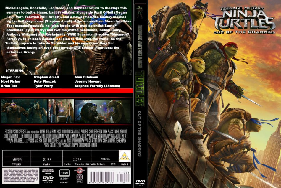 Teenage Mutant Ninja Turtles Out Of The Shadows Dvd Cover Label 2016 R2 Custom