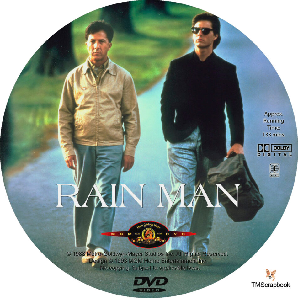 Rain Man Dvd Labels 1988 R1 Custom