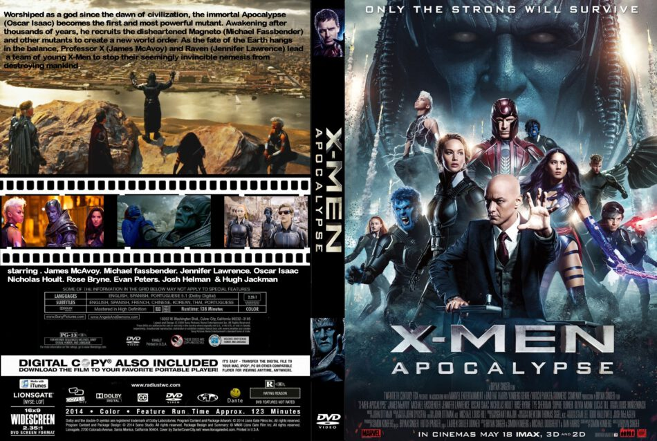 X-men Apocalypse Dvd Cover & Label (2016) R0 CUSTOM
