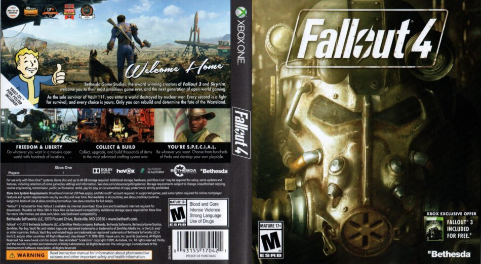 Fallout 4 dvd cover (2015) XBOX ONE USA