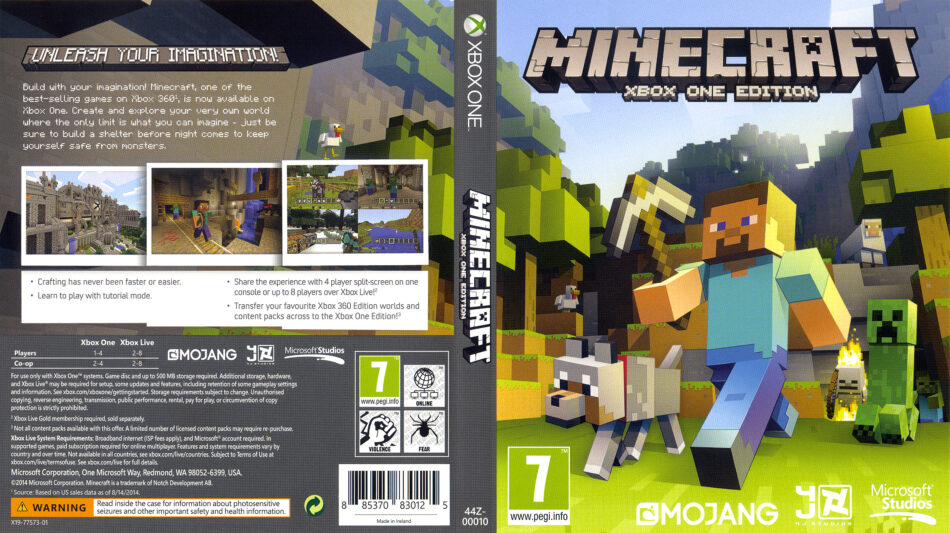 Minecraft Xbox One Edition dvd cover (2014) XBOX ONE USA