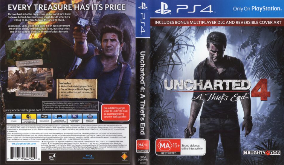 Uncharted 4 A Thief S End Dvd Cover Label 2016 Pal Ps4