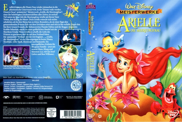 Arielle die Meerjungfrau (1989) R2 German Cover & Label
