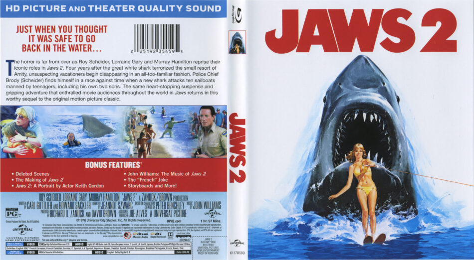 Jaws 2 Blu Ray Cover Labels 1978 R1