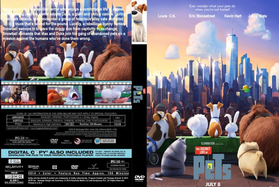 The Secret Life Of Pets Dvd Cover Label 2016 R0 Custom