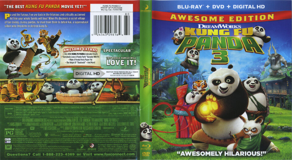 Kung Fu Panda 3 Blu Ray Cover Labels 2016 R1