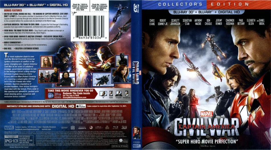 Captain America Civil War Blu Ray Cover Labels 2016 R1