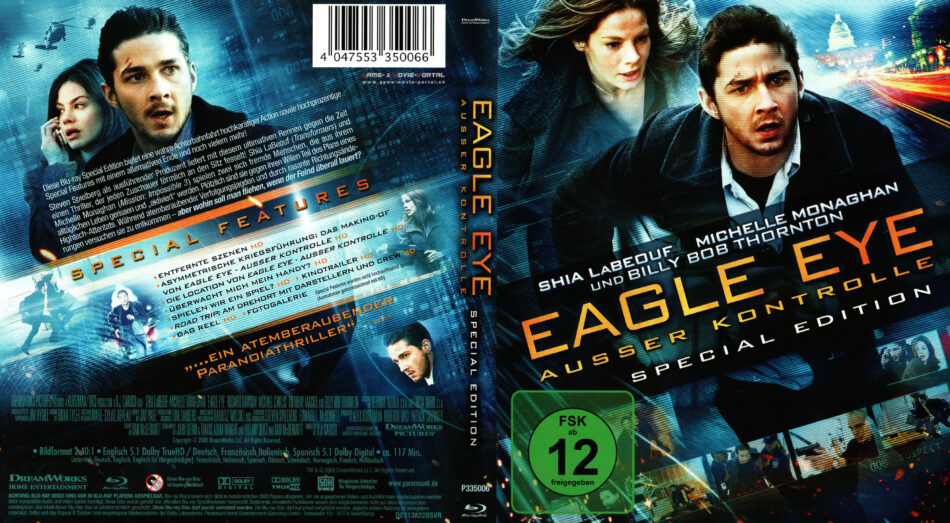 Eagle Eye Ausser Kontrolle Blu Ray Cover 2008 R2 German