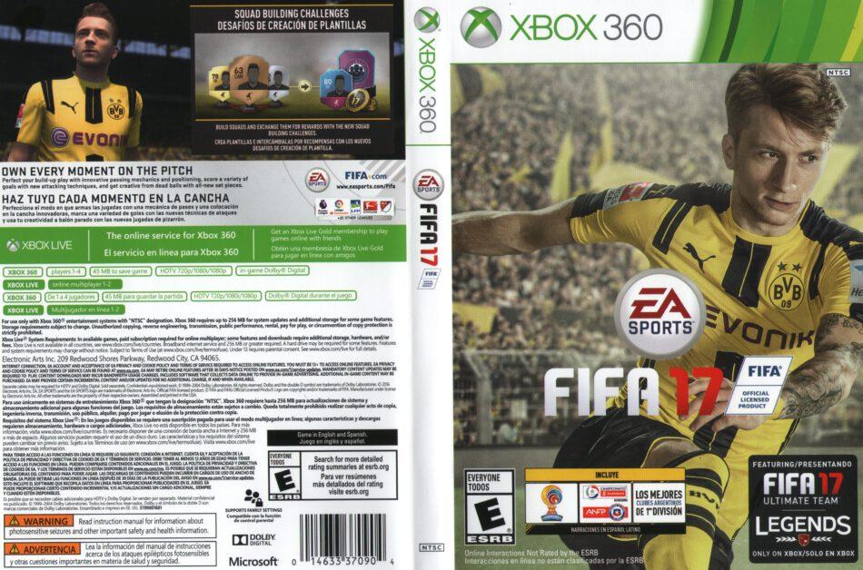 FIFA 17 dvd cover & label (2015) USA XBOX 360