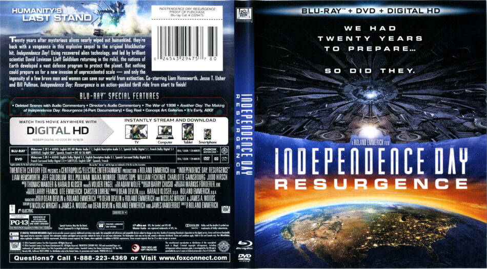 Independence Day Resurgence Blu Ray Cover Labels 2016 R1