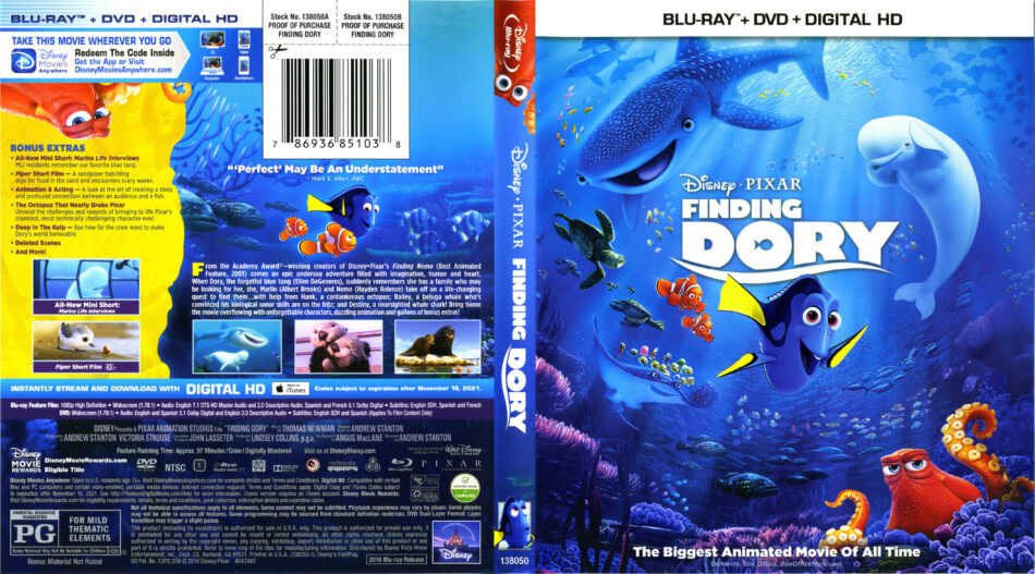 Finding Dory Blu Ray Cover Labels 2016 R1