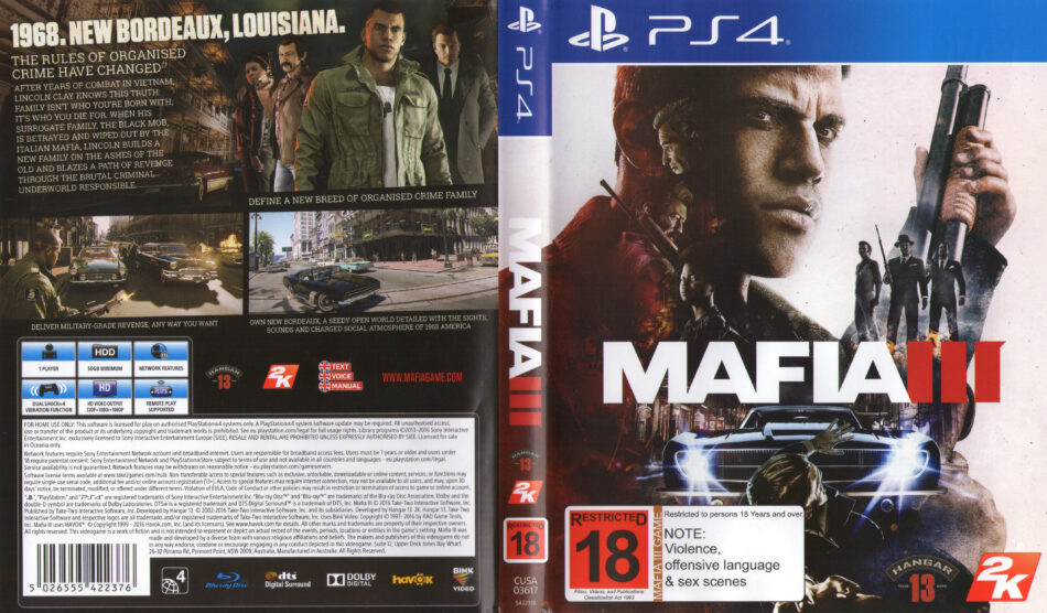 Mafia III dvd cover & label (2016) PAL English PS4
