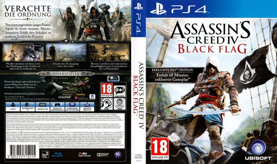 Assassins Creed Black Flag Dvd Cover 2013 German Ps4