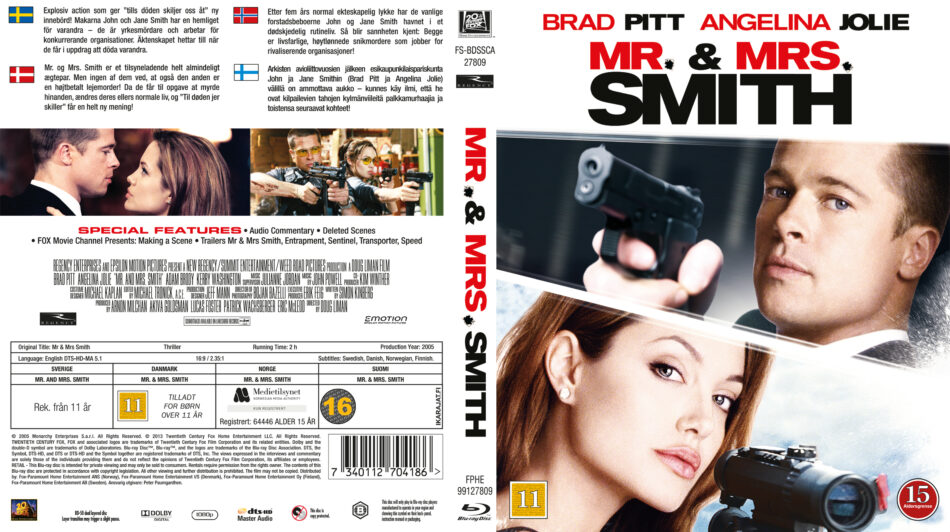 Mr Mrs Smith Blu Ray Cover 2005 R2 Swedish