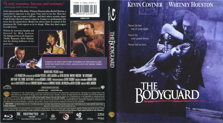 The Bodyguard Blu Ray Cover Label 1992 R1