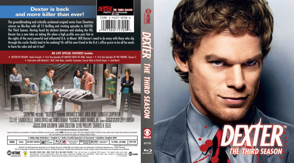 Dexter: Season 3 blu-ray cover (2008) R1