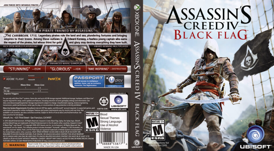 Assassin S Creed Iv Black Flag Dvd Cover 2013 Usa Xbox One
