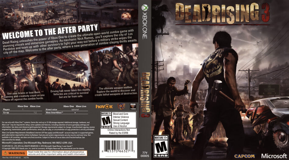 Dead Rising 3 dvd cover (2013) USA XBOX ONE on